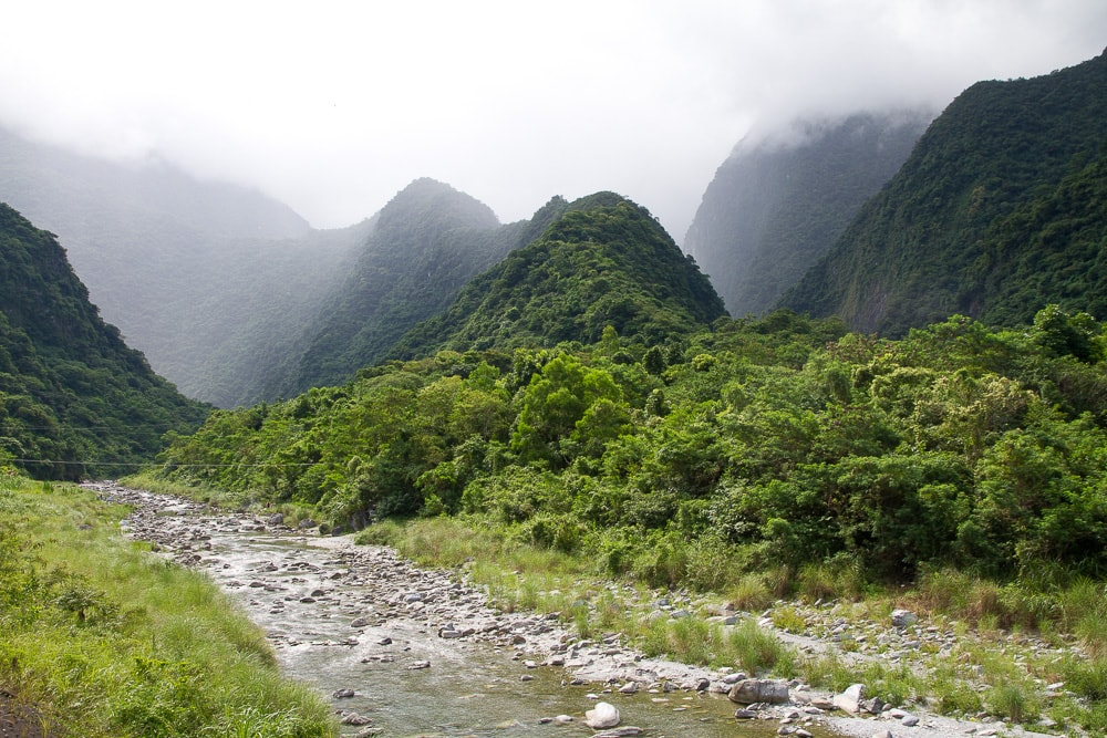 Sanzhan (Sanjhan), Hualien, Taiwan, starting point of the Golden Grotto river trace