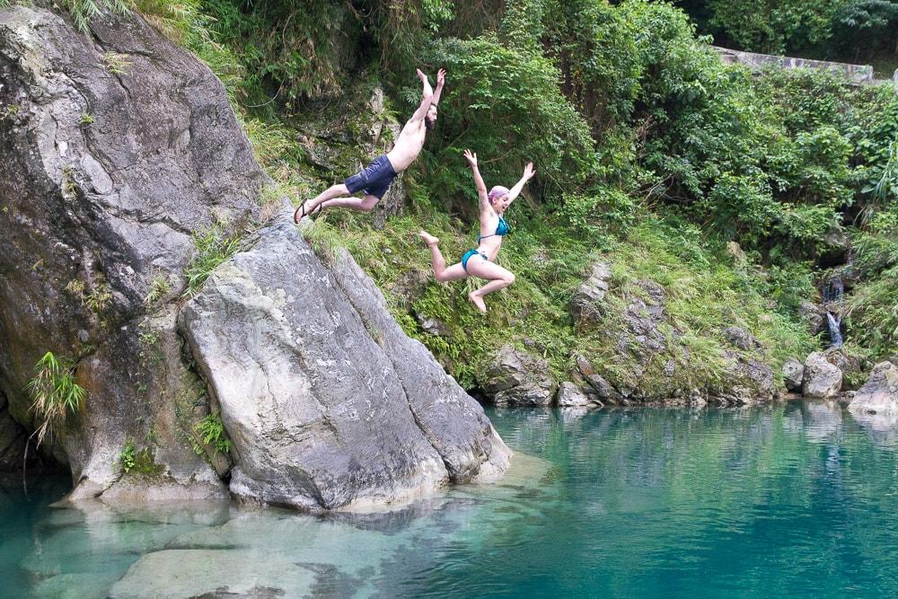 Cliff jumping at Sanzhan (Sanjhan), Hualien, Taiwan