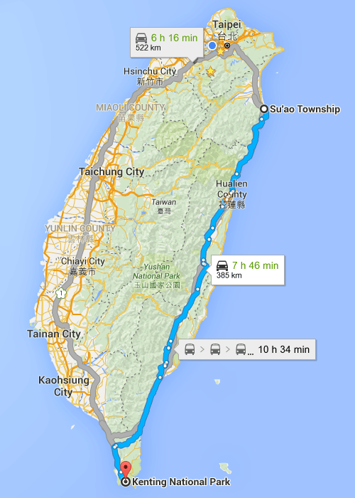 Map of Taiwan Suao to Kenting