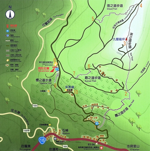 Map for hiking the tea trails in Shizhuo, Chiayi