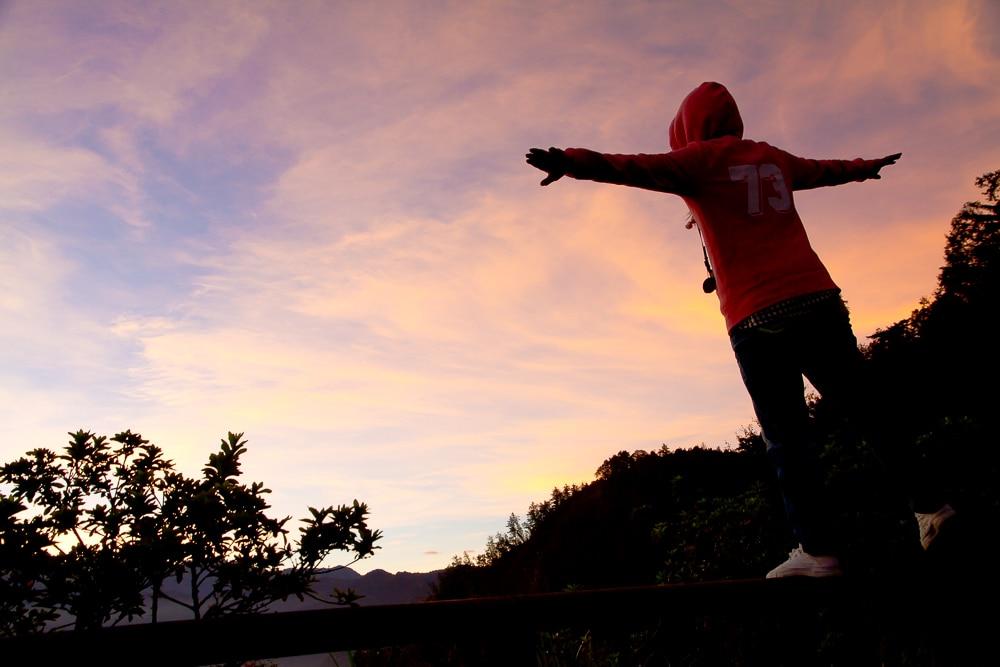 Watching the sunrise near Zhushan, Alishan