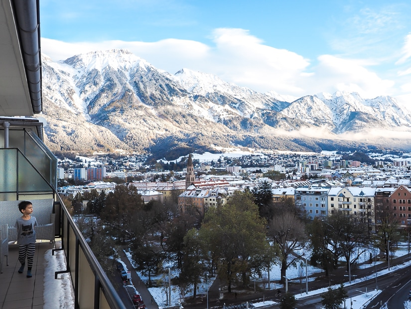 My son on our apartment balcony overlooking Innsbruck