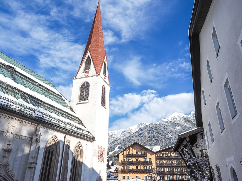 Church in Seefeld town center, an easy day trip from Innsbruck with young kids