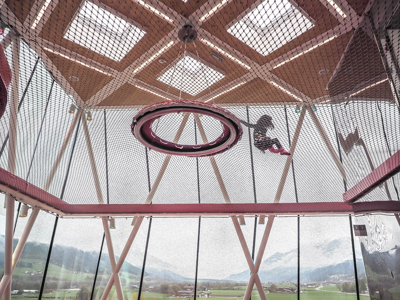 Lavender climbing on ropes in the Playtower, one of the best children's activities at Swarovski Kristallwelten