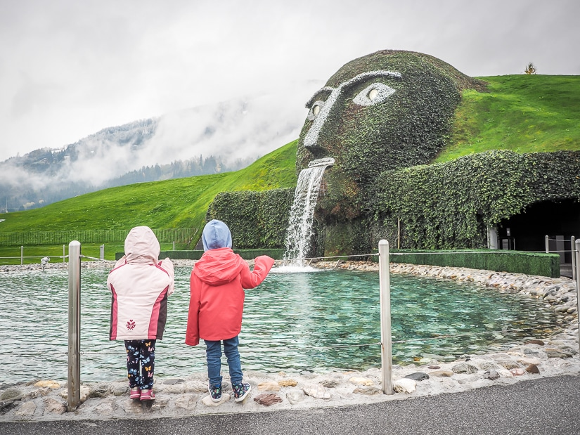 Our kids at Swarovski Kristallwelten in Wattens, one of the most interesting places to visit in Innsbruck with kids